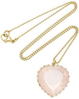 Antique Rose Quartz Heart Necklace