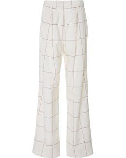 Windowpane Wool Pleat Front Trouser
