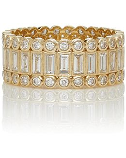 Baguette And Round Bezel Stacked Eternity Ring