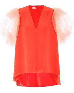 Silk Top With Organza Sleeve