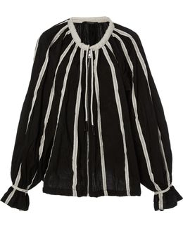 Zip Up Balloon Blouse