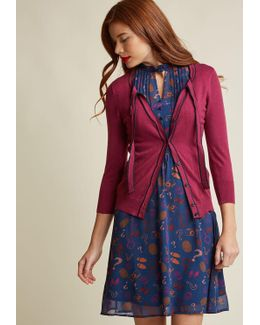 Tie-neck Cardigan With Piping In Berry
