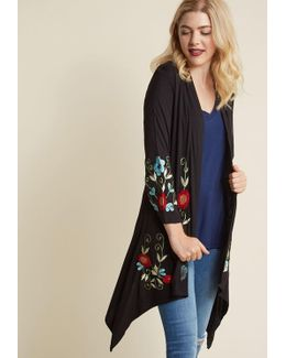 Bloom Service Delivery Floral Cardigan In Black