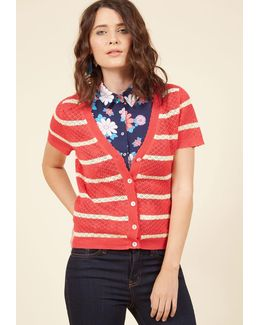 Stay Sweet Cardigan In Striped Coral