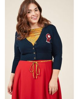Cropped Cardigan With Ribbon Patch