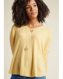 More Soften Than Not Waffle Knit Top In Sunflower