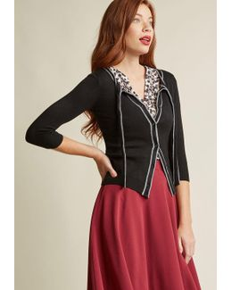 Tie-neck Cardigan With Piping In Black