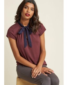 Tie Neck Knit Work Top With Keyhole In Plum