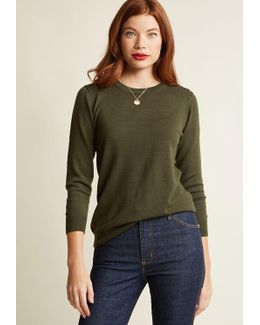 Charter School Pullover Sweater In Olive