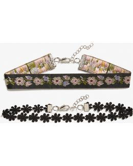 Pack Of 2 Floral Chokers