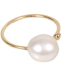 Open Diamond And Pearl Ring