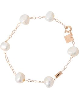 Pearls And Tube On Chain Bracelet