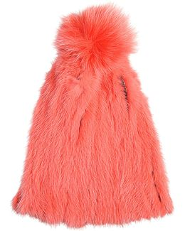Mink Knitted Fur Beanie With Fox Fur Pompon