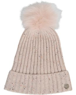 Knit Hat And Fox Pompon