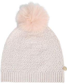 Knit Lurex Hat And Fox Pompon