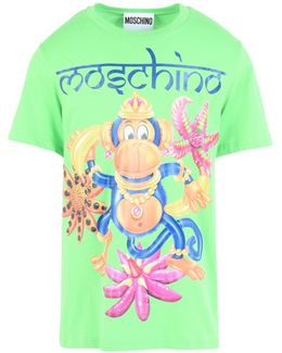 Monkey Print Cotton T-shirt