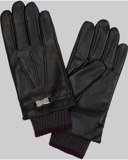 Black Leather Clip Gloves