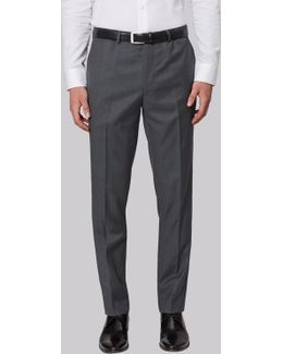 Slim Fit Plain Grey Trousers
