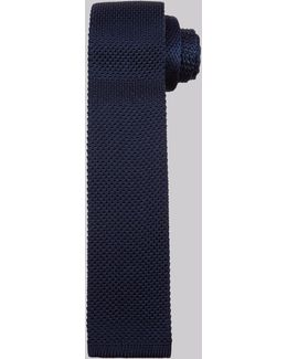 Navy Knitted Silk Skinny Tie