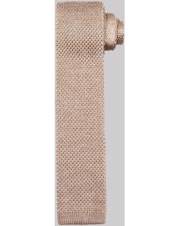 Gold Knitted Silk Skinny Tie