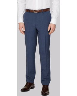 Slim Fit Blue Textured Trousers