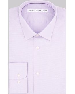 Slim Fit Lilac Single Cuff Textured Mini Gingham Shirt