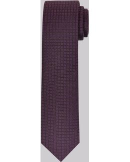 Purple Geometric Check Skinny Tie