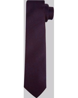 Wine And Navy Textured Skinny Tie
