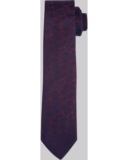 Wine And Navy Rose Skinny Tie