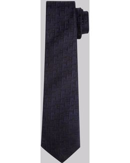 Navy And Black Geo Skinny Tie