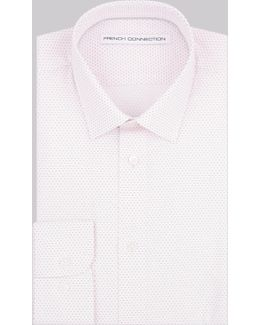 Slim Fit Pink Single Cuff Geo Print Shirt