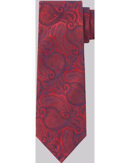 Red & Blue Paisley Silk Tie
