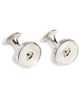 Button Silver Mother-of-pearl Cufflinks