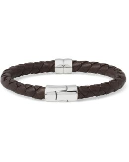 Intrecciato Leather And Silver Bracelet