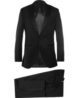 Black Satin-trimmed Wool And Mohair-blend Tuxedo