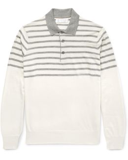 Striped Cashmere And Silk-blend Polo Shirt
