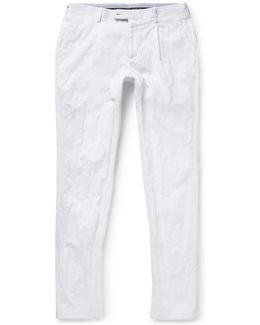 Slim-fit Pleated Cotton Trousers