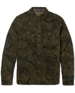 Slim-fit Quilted Camouflage-print Cotton Shirt Jacket