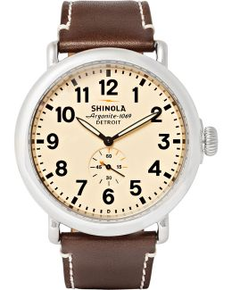 The Runwell 47mm Stainless Steel And Leather Watch