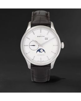 Elite Moonphase 40mm Stainless Steel And Alligator Watch