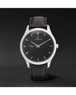 Elite Ultra-thin 40mm Stainless Steel And Alligator Watch