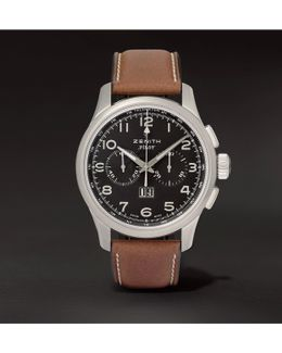 Pilot 44mm Stainless Steel And Leather Watch