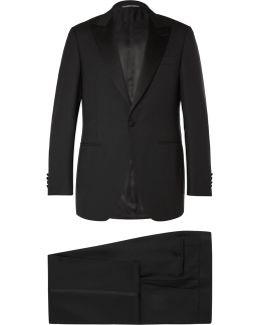 Black Slim-fit Satin-trimmed Wool Tuxedo