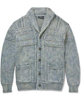 Shawl-collar Cotton Cardigan