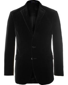 Black Slim-fit Cotton-velvet Blazer
