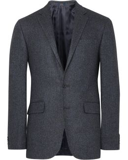 Blue Slim-fit Herringbone Wool And Silk-blend Blazer