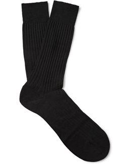 Laburnum Ribbed Merino Wool-blend Socks