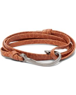 Grained-leather And Rhodium-plated Hook Wrap Bracelet
