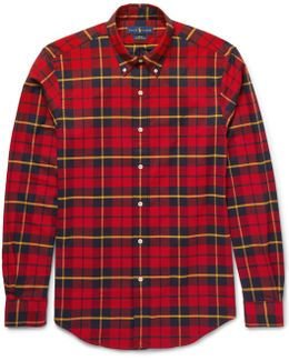 Button-down Collar Checked Stretch-cotton Shirt