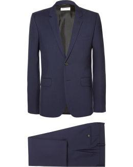 Navy Slim-fit Virgin Wool-gabardine Suit